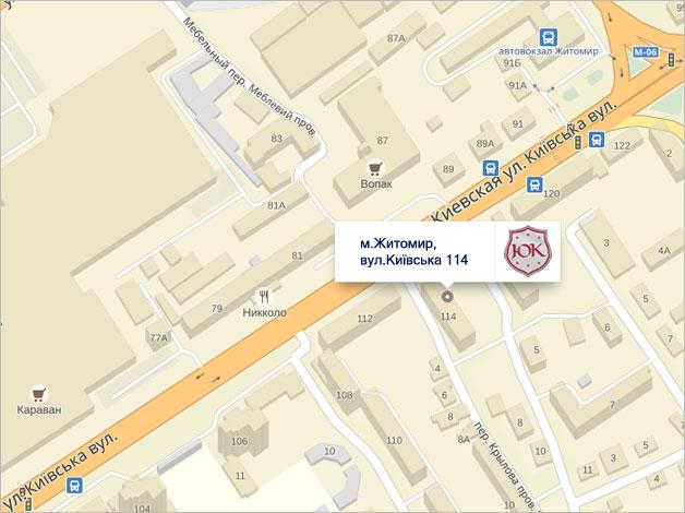 карта розміщення відділення у м.Житомир, вул.Київська, 114